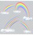 Transparent rainbows with clouds vector image vector image