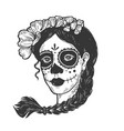 woman with dead makeup engraving vector image vector image