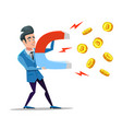 successful businessman mining bitcoin with magnet vector image