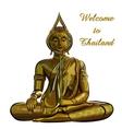 thai gold buddha meditation on a white background vector image