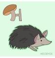 Alphabet letter H hedgehog children vector image
