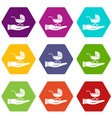 baby pram protection icon set color hexahedron vector image vector image