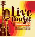 banner for concert live music with guitar and mic vector image vector image