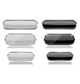 Black and white oval glass buttons with metal vector image