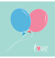 blue and pink balloons love card vector image