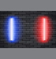 blue and red neon lamps on black brick wall vector image vector image