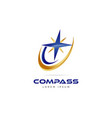 blue gold compass logo symbol icon vector image vector image