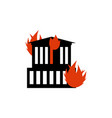 burn building fire in facility arson home flames vector image vector image