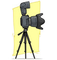 cartoon digital camera with big lens on tripod vector image vector image