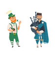 cartoon people in uk national costumes set vector image vector image
