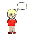 cartoon worried person with thought bubble vector image vector image