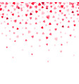 confetti of red falling hearts vector image vector image