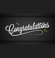 congratulation vintage sign on black message vector image