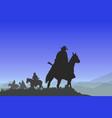 cowboys on mountain pass vector image vector image