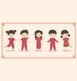 cute chinese new year kids boy girl cartoon vector image vector image