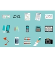 Flat set of office things vector image