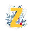 floral alphabet letter z vector image vector image