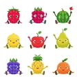 Fruit And Berries Cute Girly Characters Sitting vector image vector image