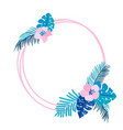 geometric summer wreath with tropical palm flower vector image vector image