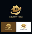 gold home secure logo vector image vector image
