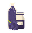 grapes juice bottles and fruit cartoon vector image vector image
