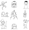 Halloween flat doodle on white backgrounds vector image vector image
