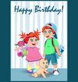 happy birthday greeting card kawaii cartoon kids vector image vector image
