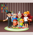 happy family members in living room vector image