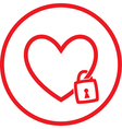heart and lock icon vector image