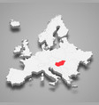 hungary country location within europe 3d map vector image vector image