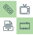 icons set collection of extension cord printer vector image