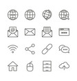 Internet icon set line network symbol coll