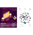 isometric movie time composition vector image