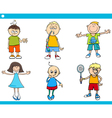 kids characters cartoon set vector image