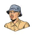 man wearing shirt and panama hat vector image vector image