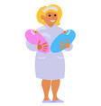 maternity nurse holding two babies smiling vector image