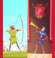 medieval vertical cartoon banners set vector image vector image