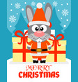 merry christmas card with rabbit santa claus vector image vector image
