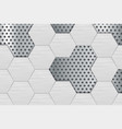 metal perforated background with steel hexagons vector image vector image