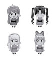 monochrome set full body cute anime tennagers vector image vector image