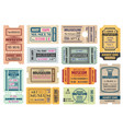 museum retro tickets admits templates vector image vector image