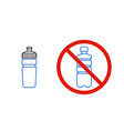 no plastic bottle only reusable water bottle sign vector image vector image