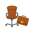 office chair and briefcase isolated objects vector image