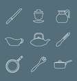 outline design dinnerware icons set vector image vector image