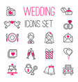 Outline wedding day marriage icons set of icons