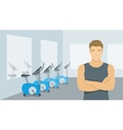 Personal fitness trainer man in gym vector image vector image
