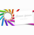 postcard circle of colored rainbow pencils vector image vector image