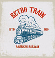 retro train vintage locomotive on grunge vector image