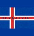 reykjavik on textured background of iceland flag vector image