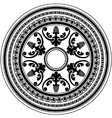 Round decorative black ornament isolated on white vector image vector image